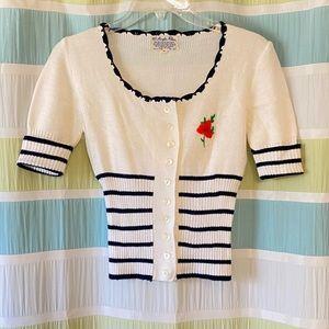 Vintage Embroidered Sweater Floral Striped Sz Med
